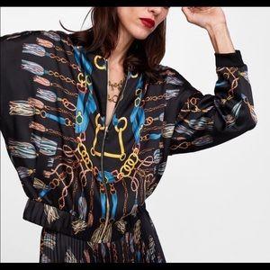 Zara Chain Scarf Print Bomber Jacket Large RARE